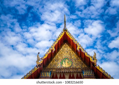 Wat Thai Temple for worship. it's faith of buddhism to pray for god helpful and goodluck in Thailand. Wat Thai also have beautiful golden architecture structure of Thai ancient with clear blue sky