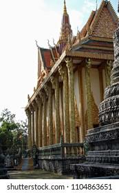 Wat Traeuy Kaoh, Kampot, Cambodia Jan 6th 2012 The ornate golden pillars of Kampot's beautiful pagoda.