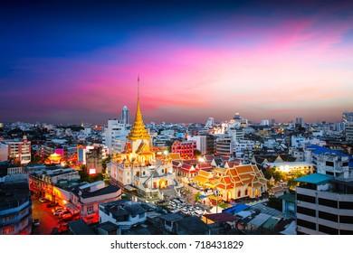 Wat Trimitr in chinatown or yaowarat area in Bangkok city, Thailand