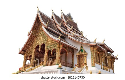 """Wat Xieng Thong (""""Temple of the Golden City"""") isolated on white background. It is a Buddhist temple on the peninsula of Luang Phrabang, Laos"""