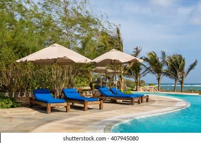 Watamu Beach, Kenya - October, 15th 2015 - The nice swim pool of the Lono Lodge in a nice blue sky day in Watamu Beach in Kenya, Africa