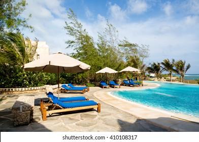 Watamu Beach, Kenya - October 15th 2015 - The amazing swim pool of the Lonno Lodge in Watamu Beach, northern Kenya, Africa