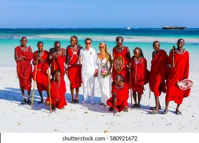 WATAMU, KENYA - January 20, 2017: Wedding on the beach in Watamu with local African Massai tribe.