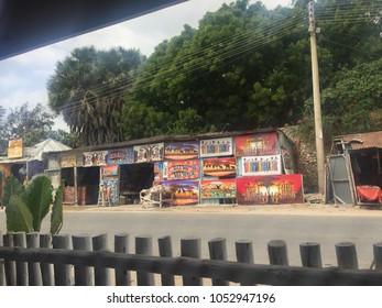 Watamu, Malindi, Kenya - February 04, 2018. Streets of Watamu