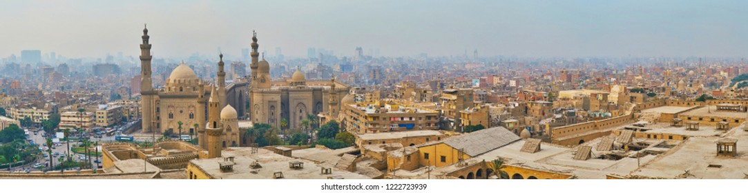 Watch the city panorama from the Saladin Citadel, the old urban neighborhoods surround the complex of Al Rifai' and Sulta Hassan mosques, Cairo, Egypt.