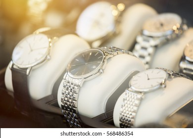 Watch collection. Focus on middle watch.