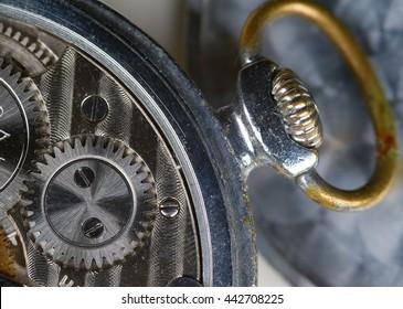 Watch mechanism closeup