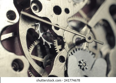 Watch mechanism macro shot