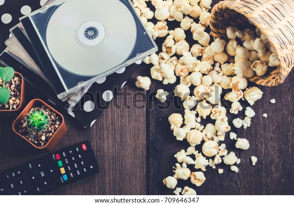 Watch Movies Home Eating Popcorn Relax Stock Photo (Edit Now
