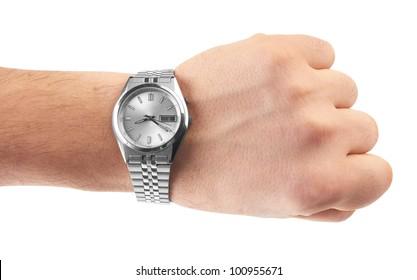 watch on man`s hand on white background
