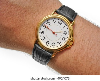 Watch on wrist against white. Includes clipping paths.