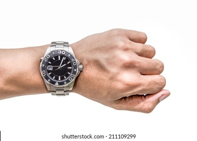 Watch on wrist isolated over a white background