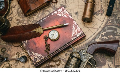 Watch With Pen Quill  On Diary Book