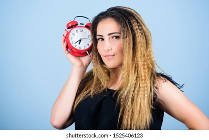 Watch repair. Few minutes. Time management. Punctuality and discipline. Woman hold red alarm clock. Counting time till deadline. Pretty girl managing her time. Overwork or being late. It is time.
