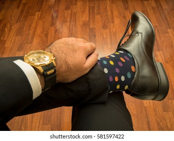 watch and socks and shoes