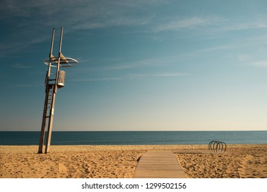 Watch tower on  beach Barcelona