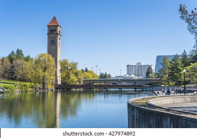 watch tower in Riverfront Park on the sunny day,Spokane,Washington,usa.