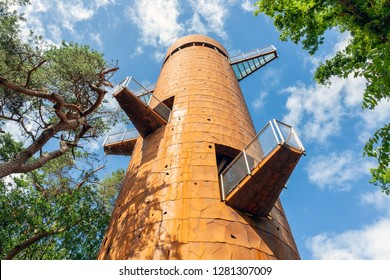 Watch tower with viewing platforms at different heights in the forest near Appelscha, The Netherlands