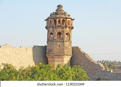Watch tower of Zanana enclosure at Hampi - a UNESCO World Heritage Site located in Karnataka, India. Sights of the ruins of Hampi.