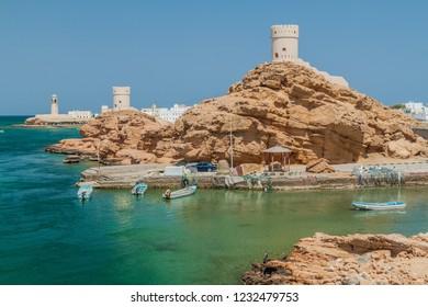 Watch towers in Ayjah village near Sur, Oman