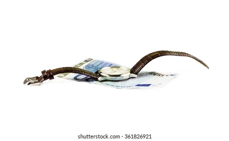 Watches and Euro banknote on a white background