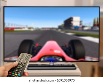 watching formula racing on television