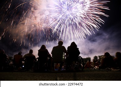 Watching a fourth of July fireworks display.
