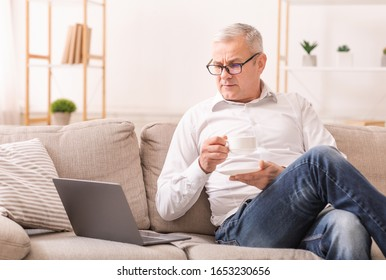 Watching Morning News. Focused Senior Man In Glasses Using Laptop And Drinking Hot Tea, Sitting On Couch, Copyspace