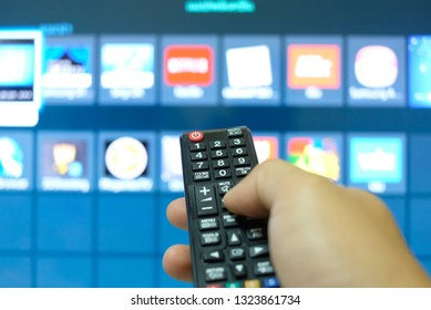 Watching smart TV and presses the button on the remote control.