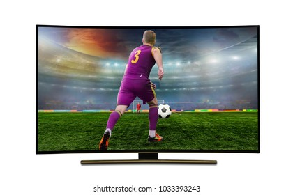 watching smart tv translation of football game. stadium, championship