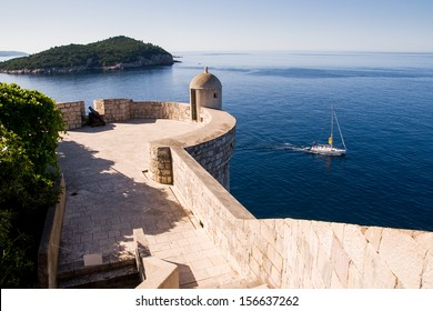Watching spot on Dubrovnik's city wall. Dubrovnik old city walls served as film sets of the Game of Thrones HBO TV series.