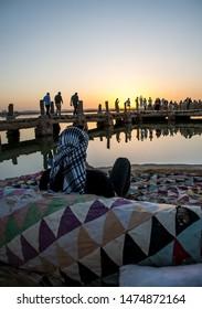 watching sunset at Fatnas island siwa oasis Egypt
