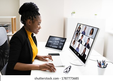 Watching Video Conference Business Webinar On Computer