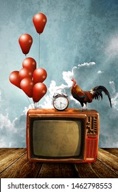 Watching at vintage television in morning time. Noisy