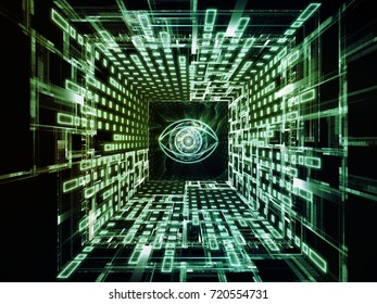 Watching You series. Composition of symbol of an eye, motion trails and fractal patterns with metaphorical relationship to information technology, security, privacy, communications