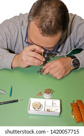 Watchmaker repairing a clockwork on a table