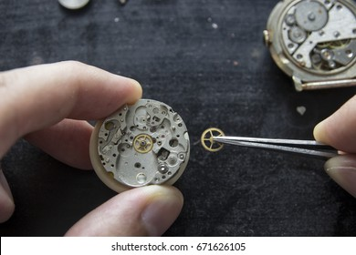 The watchmaker is repairing the mechanical watches, gear