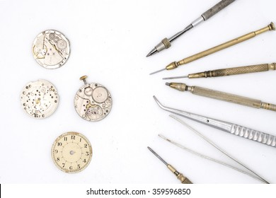 watchmaker tools isolated on white