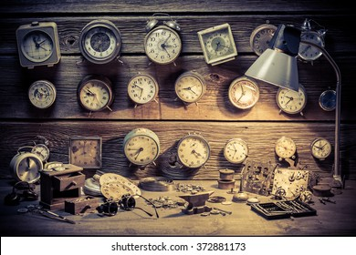 Watchmaker's workshop with clocks to repair