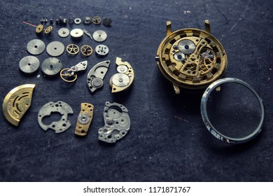 Watchmaker's workshop, watch repair, Watchmaker is repairing the mechanical watches in his workshop