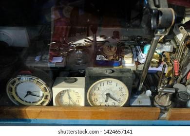 Watchmaker's workshop  in the window of a traditional watchmaker, Ukraine