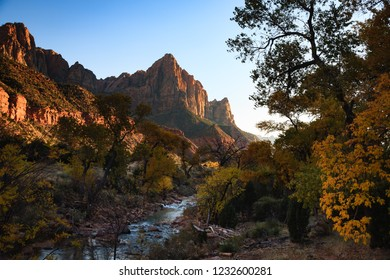 the watchman along the virgin river in zion national park