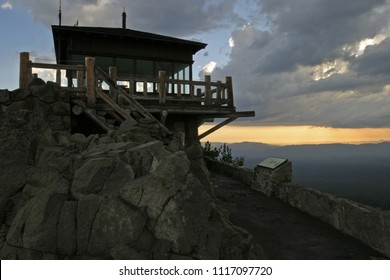 Watchman fire lookout at Sunset, Crater Lake National Park, Oregon, USA