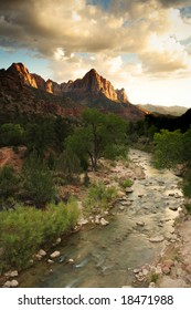 The Watchman Mountain in Zion National Park at sunset