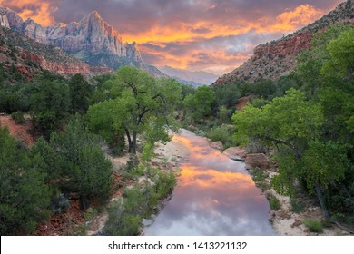 The Watchman and Virgin River from the Canyon Junction Bridge, Zion National Park, Utah, USA.