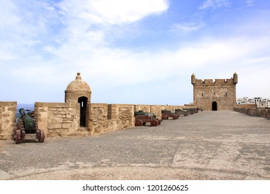 Watchtower and cannons on the fortress wall of Skala du Port, Essaouira, Morocco, North Africa