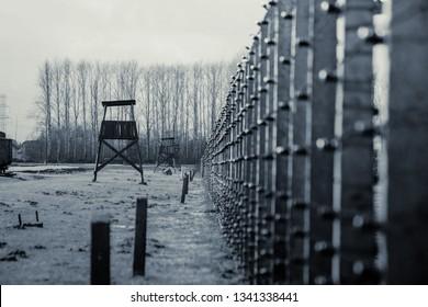 A watchtower in concentration camp Auschwitz Birkenau Polen, March 12, 2019 war