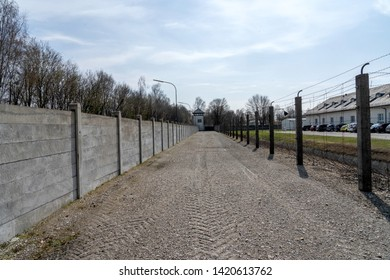 Watchtower in the Dachau Concentration camp with clouds. Dachau Concentration camp memorial. Dachau, Germany: April 2, 2019 - Immagine