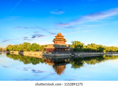 Watchtower of Forbidden City at sunset,Beijing,China