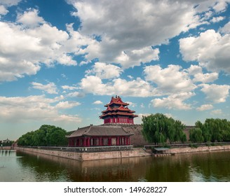 Watchtower of Forbidden City under the sunshine